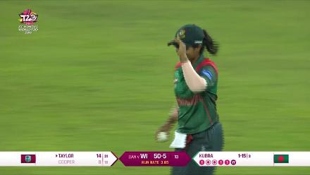 WI v BAN: Britney Cooper loses her wicket against Bangladesh