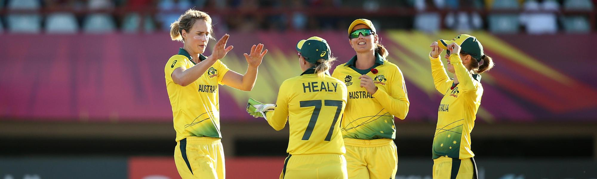 Ellyse Perry of Australia celebrates a wicket during the ICC Women's World T20 2018 match between Australia and Ireland at Guyana National Stadium on November 11, 2018 in Providence, Guyana.