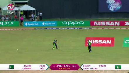 PAK v IRE: Maroof caught for a duck on the final ball of the innings