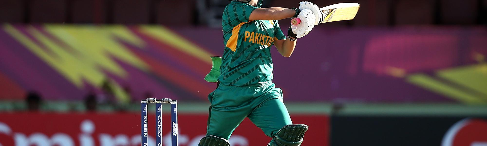 Nahida Khan of Pakistan bats during the ICC Women's World T20 2018 match between Pakistan and Ireland at Guyana National Stadium on November 13, 2018 in Providence, Guyana.