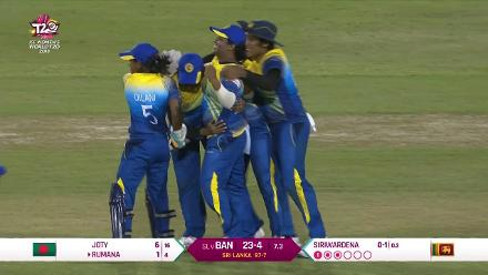 SL v BAN: Rumana Ahmed brilliantly caught by Eshani Lokusooriyage