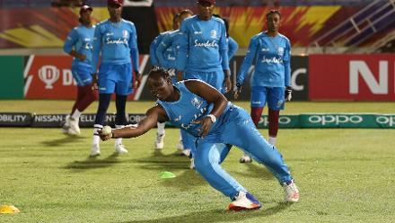 Windies warm up during the ICC Women's World T20 2018 match between Windies and South Africa at Darren Sammy Cricket Ground on November 14, 2018 in Gros Islet, Saint Lucia.