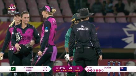 NZ v PAK: Nashra Sandhu trapped lbw by Amelia Kerr