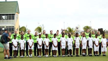 Players of Ireland sing their national anthem during the ICC Women's World T20 2018 match between India and Ireland at Guyana National Stadium on November 15, 2018 in Providence, Guyana.