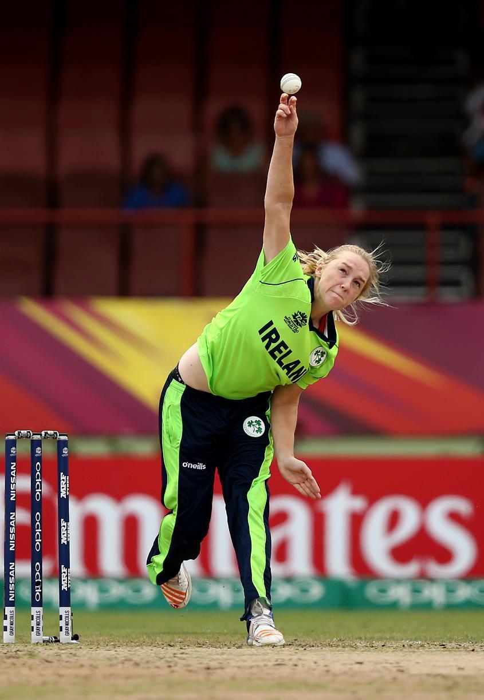 Kim Garth of Ireland bowls during the ICC Women's World T20 2018 match between India and Ireland at Guyana National Stadium on November 15, 2018 in Providence, Guyana.