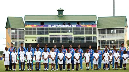 India sing their national anthem during the ICC Women's World T20 2018 match between India and Ireland at Guyana National Stadium on November 15, 2018 in Providence, Guyana.