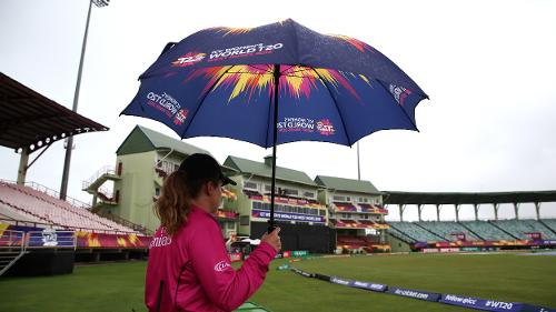 Match official Claire Polosak looks on during the ICC Women's World T20 2018 match between India and Ireland at Guyana National Stadium on November 15, 2018 in Providence, Guyana.