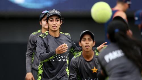 Pakistan players warm up during the ICC Women's World T20 2018 match between New Zealand and Pakistan at Guyana National Stadium on November 15, 2018 in Providence, Guyana.