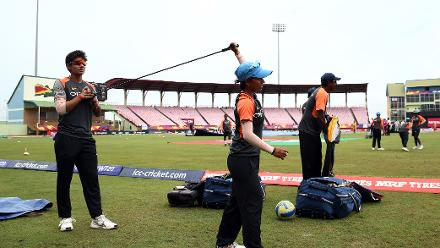 India players warm up during the ICC Women's World T20 2018 match between India and Ireland at Guyana National Stadium on November 15, 2018 in Providence, Guyana.
