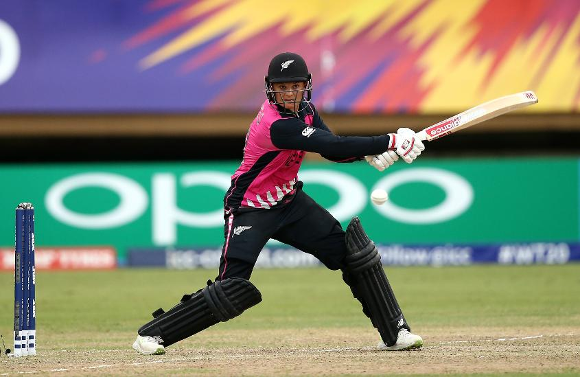 Suzie Bates of New Zealand bats during the ICC Women's World T20 2018 match between New Zealand and Pakistan at Guyana National Stadium on November 15, 2018 in Providence, Guyana.