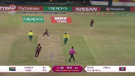 WI v SA: Masabata Klaas is run out