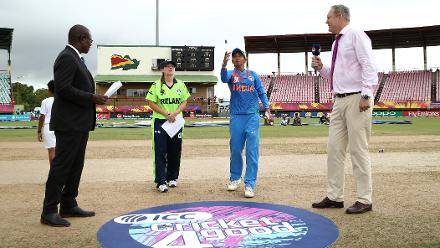 Harmanpreet Kaur of India toss the coin with Laura Delany of Ireland looking on during the ICC Women's World T20 2018 match between India and Ireland at Guyana National Stadium on November 15, 2018 in Providence, Guyana.