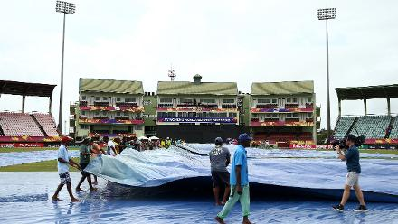 Ground staff removes rain covers during the ICC Women's World T20 2018 match between India and Ireland at Guyana National Stadium on November 15, 2018 in Providence, Guyana.