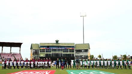 Teams line up for the national anthems during the ICC Women's World T20 2018 match between New Zealand and Pakistan at Guyana National Stadium on November 15, 2018 in Providence, Guyana.