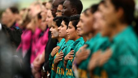 Pakistan players sing their national anthem during the ICC Women's World T20 2018 match between New Zealand and Pakistan at Guyana National Stadium on November 15, 2018 in Providence, Guyana.