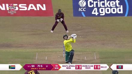 WI v SA: Marizanne Kapp is dismissed by Shamilia Connell