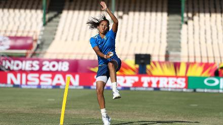 Shabnim Ismail of South Africa warms up ahead of the ICC Women's World T20 2018 match between England and South Africa at Darren Sammy Cricket Ground on November 16, 2018 in Gros Islet, Saint Lucia.