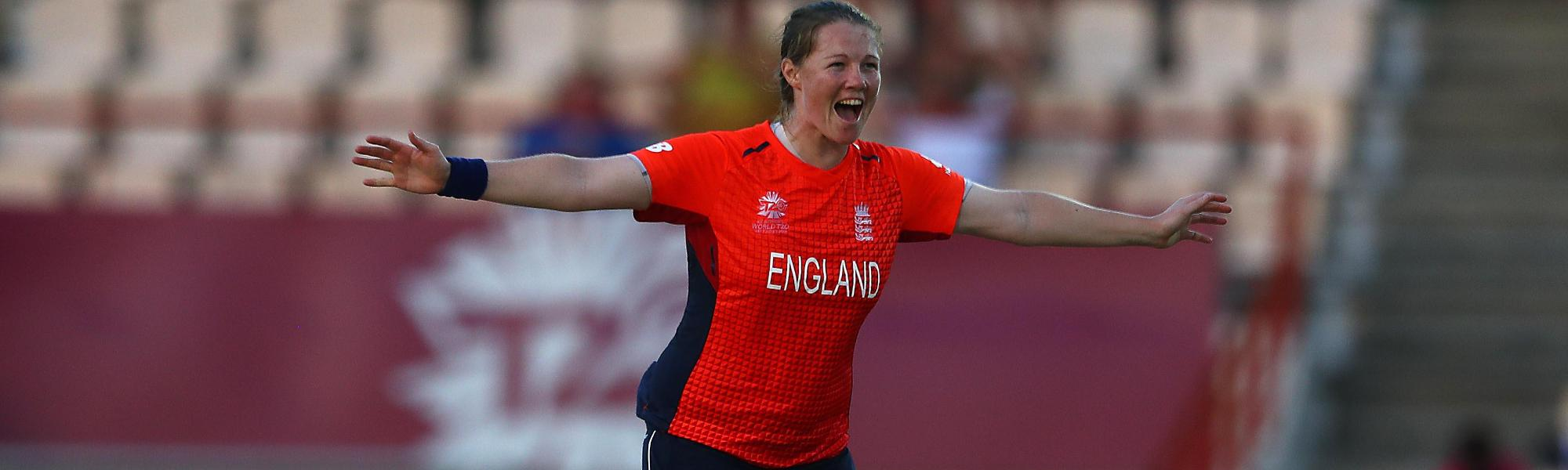 Anya Shrubsole of England celebrates bowling Yolani Fourie of South Africa during the ICC Women's World T20 2018 match between England and South Africa at Darren Sammy Cricket Ground on November 16, 2018 in Gros Islet, Saint Lucia.
