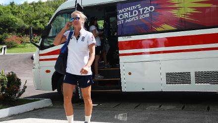 Danielle Wyatt of England arrives ahead of the ICC Women's World T20 2018 match between England and South Africa at Darren Sammy Cricket Ground on November 16, 2018 in Gros Islet, Saint Lucia.