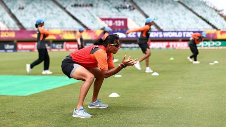 India players warm up during the ICC Women's World T20 2018 match between India and Australia at Guyana National Stadium on November 17, 2018 in Providence, Guyana.