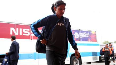 Harmanpreet Kaur of India arrives with her team during the ICC Women's World T20 2018 match between India and Australia at Guyana National Stadium on November 17, 2018 in Providence, Guyana.