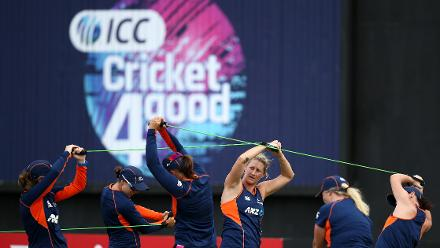 New Zealand players warm up during the ICC Women's World T20 2018 match between New Zealand and Ireland at Guyana National Stadium on November 17, 2018 in Providence, Guyana.