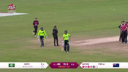 NZ v IRE: Mary Waldron caught and bowled by Jess Watkin