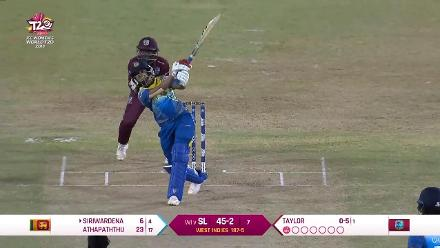 WI v SL: Shashikala Siriwardana is dismissed by the Windies skipper
