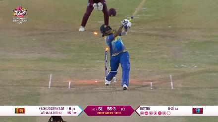 WI v SL: Lokusooriyage's woodwork is disturbed by Dottin