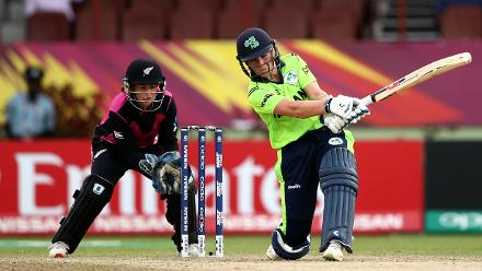 Clare Shillington of Ireland bats with Katey Martin of New Zealand looking on during the ICC Women's World T20 2018 match between New Zealand and Ireland at Guyana National Stadium on November 17, 2018 in Providence, Guyana.