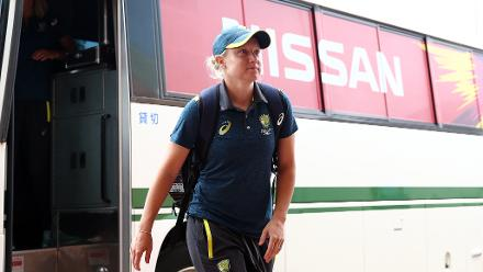 Alyssa Healy of Australia arrives with her team mates during the ICC Women's World T20 2018 match between India and Australia at Guyana National Stadium on November 17, 2018 in Providence, Guyana.