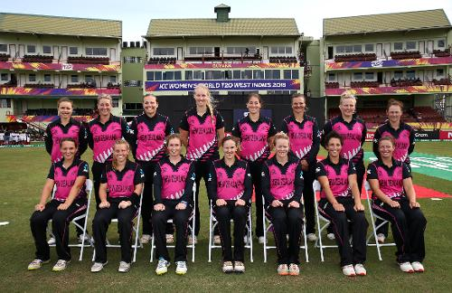 New Zealand pose for a group photo during the ICC Women's World T20 2018 match between New Zealand and Ireland at Guyana National Stadium on November 17, 2018 in Providence, Guyana.