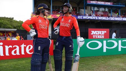 Tammy Beaumont of England and Danielle Wyatt of England prepare to go out to bat during the ICC Women's World T20 2018 match between Windies and England at Darren Sammy Cricket Ground on November 18, 2018 in Gros Islet, Saint Lucia