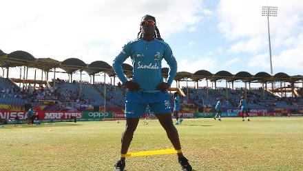 Deandra Dottin of Windies warms up ahead of the ICC Women's World T20 2018 match between Windies and England at Darren Sammy Cricket Ground on November 18, 2018 in Gros Islet, Saint Lucia.