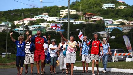 England cricket supporters arrive at the stadium ahead of the ICC Women's World T20 2018 match between Windies and England at Darren Sammy Cricket Ground on November 18, 2018 in Gros Islet, Saint Lucia.