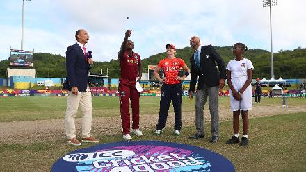 Stafanie Taylor of Windies and Heather Knight of England pictured during the coin toss ahead of the ICC Women's World T20 2018 match between Windies and England at Darren Sammy Cricket Ground on November 18, 2018 in Gros Islet, Saint Lucia.