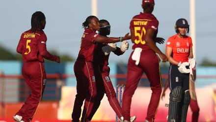 Shakera Selman of Windies celebrates the wicket of Natalie Sciver of England during the ICC Women's World T20 2018 match between Windies and England at Darren Sammy Cricket Ground on November 18, 2018 in Gros Islet, Saint Lucia.
