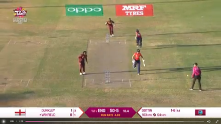 WI v ENG: Direct hit catches Lauren Winfield short