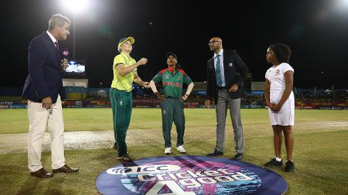 Dane van Niekerk of South Africa and Salma Khatun of Bangladesh pictured during the coin toss ahead of the ICC Women's World T20 2018 match between South Africa and Bangladesh at Darren Sammy Cricket Ground on November 18, 2018.