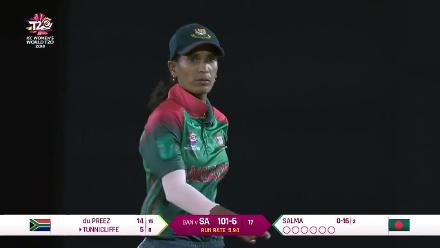 SA v BAN: Salma Khatun knocks over Faye Tunnicliffe