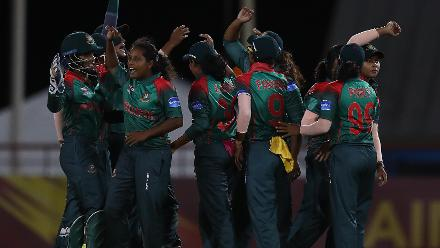 Bangladesh celerate the wicket of Lizelle Lee of South Africa, after she was run out during the ICC Women's World T20 2018 match between South Africa and Bangladesh at Darren Sammy Cricket Ground on November 18, 2018 in Gros Islet, Saint Lucia.