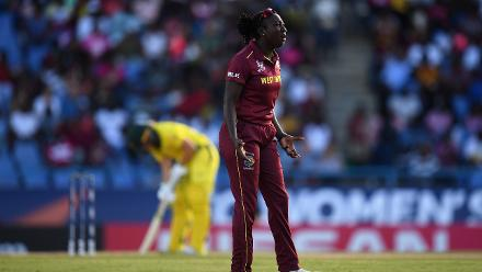 Stafanie Taylor of Windies reacts during the ICC Women's World T20 2018 Semi-Final match between Windies and Australia at Sir Viv Richards Cricket Ground on November 22, 2018 in Antigua, Antigua and Barbuda.