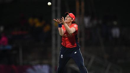 Natalie Sciver of England takes a catch to dismiss Taniya Bhatia of India during the ICC Women's World T20 2018 Semi-Final match between England and India at Sir Viv Richards Cricket Ground on November 22, 2018 in Antigua, Antigua and Barbuda.