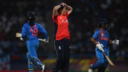 Anya Shrubsole of England (C) reacts during the ICC Women's World T20 2018 Semi-Final match between England and India at Sir Viv Richards Cricket Ground on November 22, 2018 in Antigua, Antigua and Barbuda.