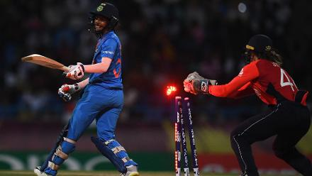Amy Jones of England attempts in vain to stump Jemimah Rodrigues of India during the ICC Women's World T20 2018 Semi-Final match between England and India at Sir Viv Richards Cricket Ground on November 22, 2018 in Antigua, Antigua and Barbuda.
