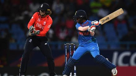 Jemimah Rodrigues of India bats during the ICC Women's World T20 2018 Semi-Final match between England and India at Sir Viv Richards Cricket Ground on November 22, 2018 in Antigua, Antigua and Barbuda.