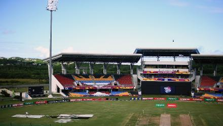 General view of the inside of the stadium during the ICC Women's World T20 2018 Final between Australia and England at Sir Vivian Richards Cricket Ground on November 24, 2018 in Antigua, Antigua and Barbuda.