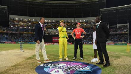 General view of the toss during the ICC Women's World T20 2018 Final between Australia and England at Sir Vivian Richards Cricket Ground on November 24, 2018 in Antigua, Antigua and Barbuda.
