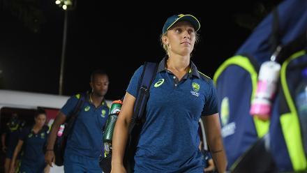 Ashleigh Gardner of Australia arrives during the ICC Women's World T20 2018 Final between Australia and England at Sir Vivian Richards Cricket Ground on November 24, 2018 in Antigua, Antigua and Barbuda.