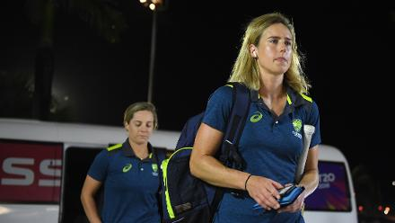 Ellyse Perry of Australia arrives during the ICC Women's World T20 2018 Final between Australia and England at Sir Vivian Richards Cricket Ground on November 24, 2018 in Antigua, Antigua and Barbuda.